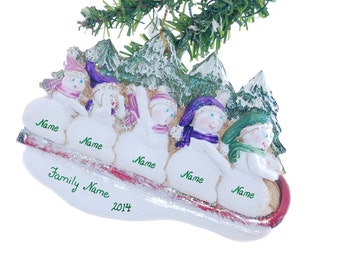 Family Personalized Christmas ornament of five snowmen sledding in the snow (f135)