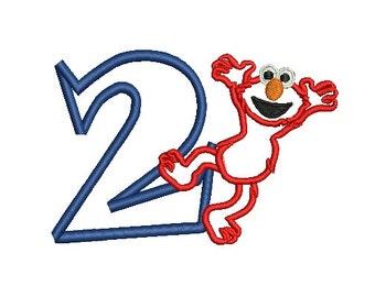 Elmo Applique, Birthday Elmo Applique, Birthday Embroidery (227) Instant Download