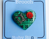 Green Tape Measure Brooch - Heart Resin All Colours Craft Sewing Jewellery Handmade