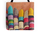 Ethnic Tote Bag, Moroccan Babouches, Travel Bag, Fine Art Photography, Colorful Shoes, Market Photo, Rainbow Colors, Morocco, Marrakech