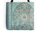 Blue Tiles Bag, Moroccan Tiles, Tote Bag, Pale Blue, Pattern, Geometric, Photo Bag, Photography, Travel Bag, Morocco, Mosaic, Mediterranean