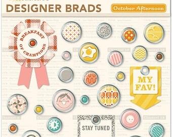 October Afternoon Saturday Mornings Designer Brads -- MSRP 6.00