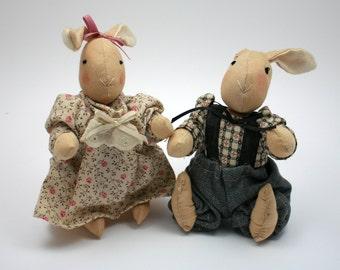 Vintage soft cloth Easter bunny, girl rabbit dress, boy bunny suspenders, handmade doll, floppy ears, spring country decor, girls tea party