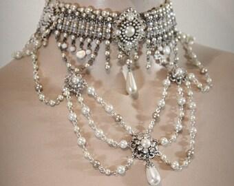 Vintage Bridal Necklace Victorian Choker reinassance Era Wedding Necklace Bridal pearl Necklace Choker Bridal Jewelry Victorian inspiration