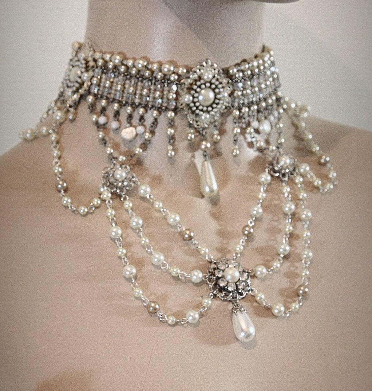 Vintage Bridal Necklace Victorian Choker Reinassance Era