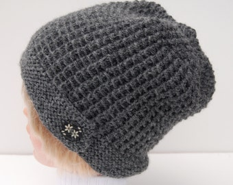 Hand knit gray hat, knit dark gray hat, knit hat with button, knit wool hat, button brim hat, gray knit beanie, women's knit hat, winter hat
