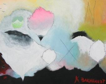 "Buoyant Landscape, Large Original Abstract Acrylic Painting 36"" x 24"""