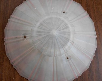 Ceiling light cover, 1940s light cover, 1930s light cover, glass light cover, pink light cover, hanging light cover, vintage light cover