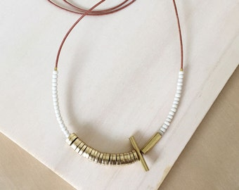 NEW Beaded Necklace : Japanese Seed Beads and Asymmetrical Brass on Leather Cord
