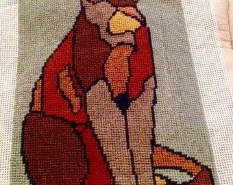 Finished Needlepoint-Stained Glass Kitty