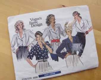 Uncut Vogue Sewing Pattern 2226 - Misses Petite Blouse  -  Size 6-10