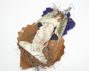 1894 Victorian Angel Embossed Die Cut and Tinsel Christmas Scrap Ornament, Antique