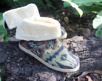 Womens Ankle Boots In Javanese Ikat Plush Lining Fold over Cuff House Shoes Slippers - Naya