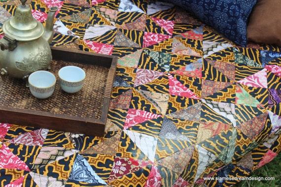 Queen Bedding Vintage Patchwork Bali Batik Quilt Cotton Blanket Boho Bedding