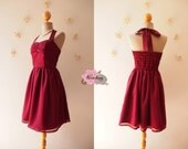 Red Maroon Dress Burgundy Dress Wine Dress Vintage Wine Red Party Prom Dress Evening dress Burgundy bridesmaid dress -Size XS-XL, custom