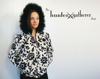 SALE - 50% off -Vintage 70s Velvet Brocade Fur Trimmed Hooded Jacket Black and White Floral Small Medium C170