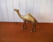 Vintage Brass Camel with Ornate Engraved Design