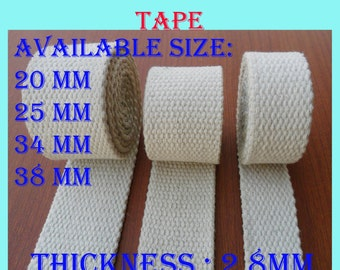 38mm x 2 yards natural Cotton heavy webbing bag handle tapes strap
