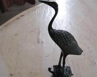 Chinese brass crane and tortoise