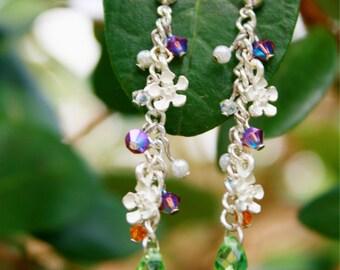 Tropical Blooms Silver Tone Drop Earrings