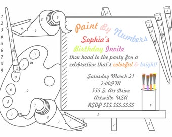 Paint Party Paint by Number Invitation by Cakewalk