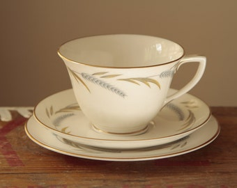 English Tea set tea cup Royal Worcester 'Harvest Ring' Teacup Trio Tea