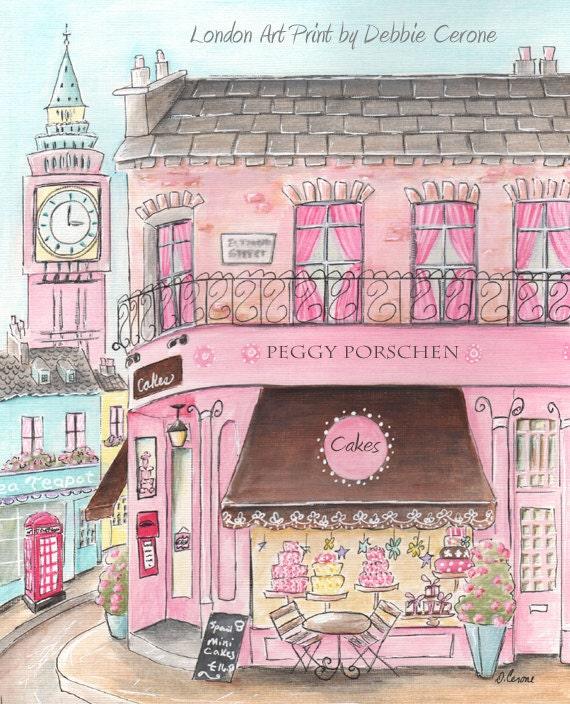 London Themed Pink British Art Prints For Girls