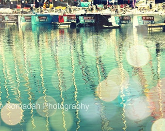 Sailboats in Cape Town Harbour, colourful, bright, masts, green water, happy colors, boats, nautical image, abstract photography