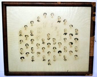 Antique Class Photo, Framed Class Photo, 1911 Graduating Class of Fairbury Nebraska, High School Graduates Class of 1911, Genealogy, History