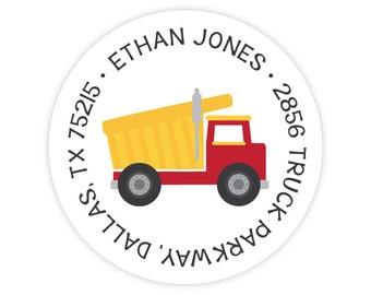 Dump Truck Address Labels - Personalized Kids Address Labels - Round Return Address Labels - Dump Truck Stickers - Kids Mailing Labels