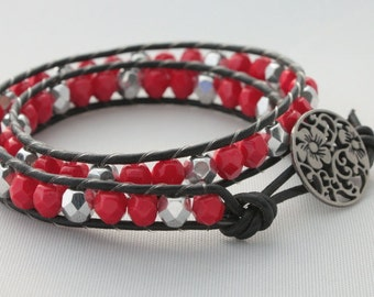 leather wrap bracelet - double wrap - beaded wrap - wrapped leather - 2x wrap bracelet - red and silver wrap - holiday jewelry - ships free