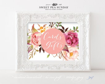 INSTANT DOWNLOAD - 5x7. Printable Watercolour Cards and Gifts Sign- DIY, Wedding Ceremony, Guest Book Sign, Cards Box Sign