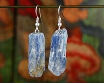 Blue Kyanite Earrings, Raw Kyanite, Dangle Earrings, Drop Earrings, Zen, Hippie, Boho, Ethnic Earrings, Beach Jewelry, Ethnic Jewelry