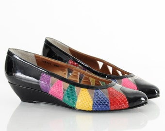 New Old Stock 80s Rainbow SNAKESKIN Patent Leather Wedge Heels 9.5 10