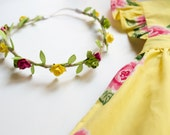 M2M Spring Fling Pinafore Eleanor Rose Floral Crown - Floral Halo Floral Boho Headband Newborn Photo Prop Shabby Chic