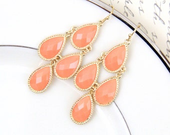 Peach Stone with Light Gold Frame Chandelier Earrings , Bridal Earrings, Bridesmaid Earrings