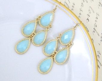 Gold Framed Light Blue Stone Chandelier Earrings ,Bridal Earrings, Bridesmaid Earrings