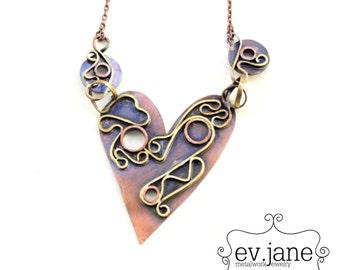 Heart Labyrinth Statement Necklace Copper Folded Short Bib Hand Cut Soldered Boho Hippie Ethnic Bib Luck Love