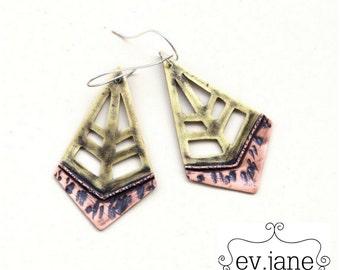 Rhombus Wire Drop Earrings Mix Metal Copper Brass Sterling Ear Hooks Hand Cut Oxidized Boho Hippie Ethnic Dangle by evismetalwork