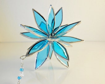 Blue Glass Flower. 3D Stained Glass Suncatcher. Flower of Life - Swirl.