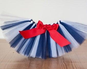 "Navy and White tutu ""Jenna"" navy tutu school colors tutu spirit wear birthday tutu skirt girls size 5 6 7 8 10 12 4th of july tutu skirt USA"
