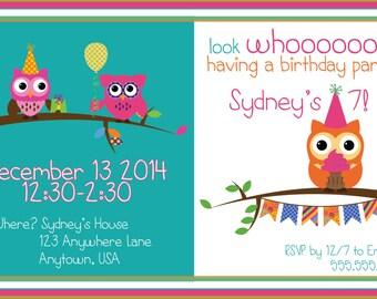 Girly Owl Custom Birthday Invitation by Eloha Designs
