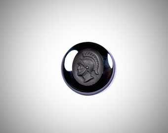 Black Spinel flat back carved Roman soldier cabochon - stone for bezel - stone for ring - Fabby Dabby Stones