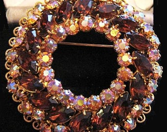 "Juliana Brooch Pin D&E Confirmed Root Beer AB Rhinestones Wreath Style Gold Metal 2"" Vintage"