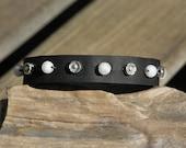Black Leather and Moonstone Bracelet