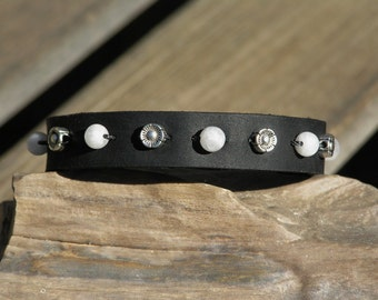 Black Leather and Moonstone Bracelet