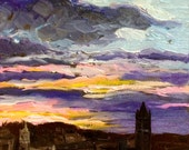 Sunset over Edinburgh - original painting 8 x 8 in