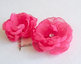 Pink Bridesmaids Hair Flowers (set of 2)  Wedding Hair Accessories Fuchsia Pink Flower Pins Small Flower Hair Clips Flower Girls Peony Pink