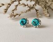 Indicolite Stud Earring, Genuine Swarovski elements, Post earring, Stud earrings, blue or turquoise earrings, Silver earrings, Weddings