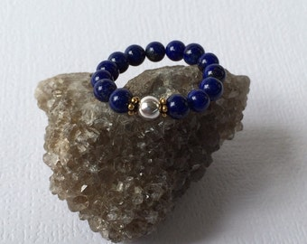 Blue Lapis Ring ~ Stretch Ring, Adjustable Ring, Arthritic Friendly, Stackable, Meditation, Healing Rings, Arthritis Ring, STERLING SILVER